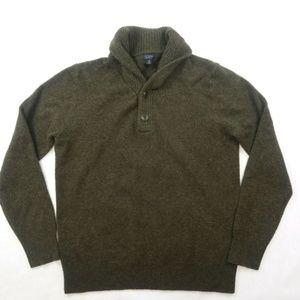 Men's J.CREW Military Dark Olive 100% Lambs Wool S